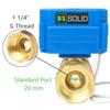"U.S. Solid 1 1/4"" Brass Motorized Ball Valve 220V AC (85-265 V AC) DN32 Electrical Ball Valve, 2 Wire Auto Return Setup"
