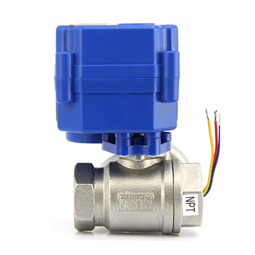 """Motorized Ball Valve- 1/2"""" Stainless Steel Electrical Ball Valve with Full Port, 9-24V AC/DC and 3 Wire Setup"""