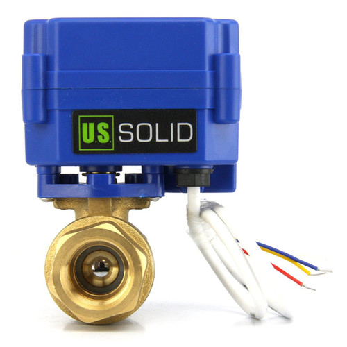 """Motorized Ball Valve- 1/2"""" Brass Electrical Ball Valve with Full Port, 9-24V AC/DC and 3 Wire Setup"""