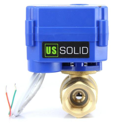 "U.S. Solid 1/4"" Brass Motorized Ball Valve 220V AC (85-265 V AC) Electrical Ball Valve, 2 Wire Auto Return Setup"