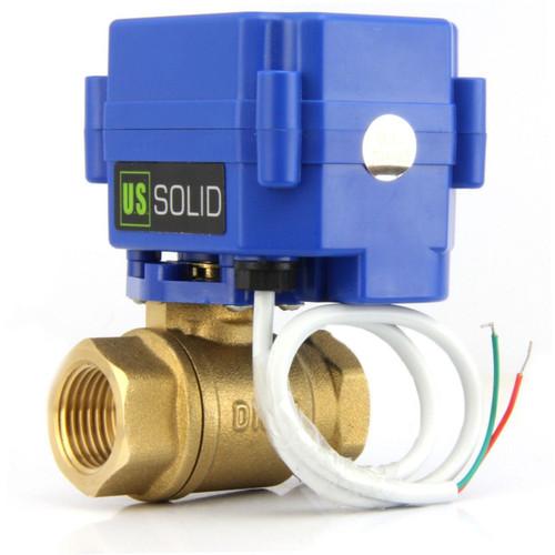 "U.S. Solid 1/2"" Brass Motorized Ball Valve 220V AC (85-265 V AC) DN15 Electrical Ball Valve, 2 Wire Auto Return Setup"