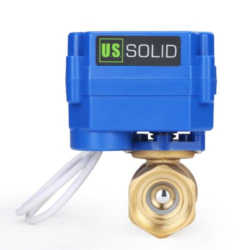 "USSOLID 3/4"" Brass Motorized Ball Valve 220V AC (85-265 V AC) Electrical Ball Valve with Standard Port, 2 Wire Auto Return Setup"