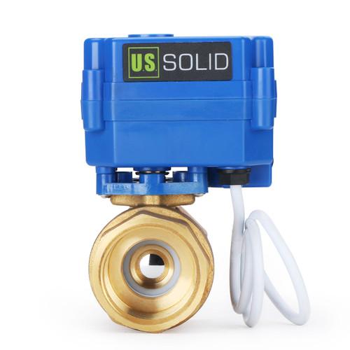 "U.S. Solid 1"" Brass Motorized Ball Valve 220V AC (85-265 V AC) Electrical Ball Valve with Standard Port, 2 Wire Auto Return Setup"