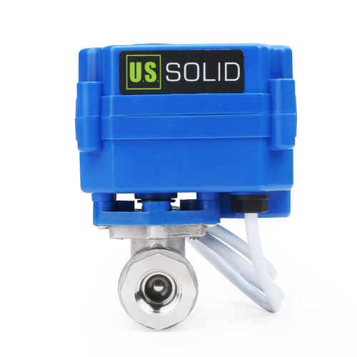 """U.S. Solid 1/4"""" DN 8 Motorized Ball Valve 220V AC Stainless Steel Electrical Ball Valve, 2 Wire Auto Return Setup"""