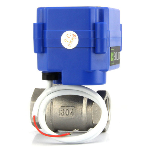"""U.S. Solid 1/2"""" DN15 Motorized Ball Valve 220V AC (85-265 V AC) Stainless Steel Electrical Ball Valve BSP, 2 Wire Auto Return Setup"""