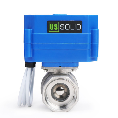 """U.S. Solid 1"""" Stainless Steel Motorized Ball Valve 220V AC (85-265 V AC) Electrical Ball Valve with Standard Port, 2 Wire Auto Return Setup"""