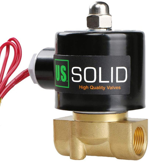 """U.S. Solid 3/8"""" Brass Electric Solenoid Valve 220V AC Normally Closed VITON"""