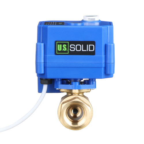 """Motorized Ball Valve- 1/2"""" Brass Ball Valve with Manual Function, Full Port, 9-24V AC/DC and 2 Wire Auto Return Setup by U.S. Solid"""