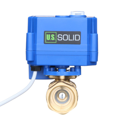 """Motorized Ball Valve- 3/4"""" Brass Ball Valve with Manual Function, Standard Port, 9-24V AC/DC and 2 Wire Auto Return Setup by U.S. Solid"""