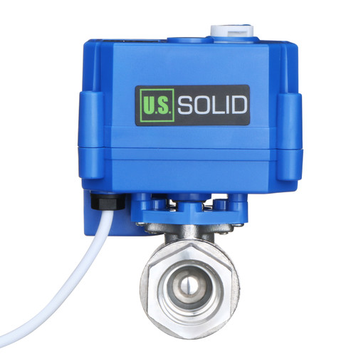 """Motorized Ball Valve- 1/2"""" Stainless Steel Ball Valve with Manual Function, Full Port, 9-24V AC/DC and 2 Wire Auto Return Setup by U.S. Solid"""