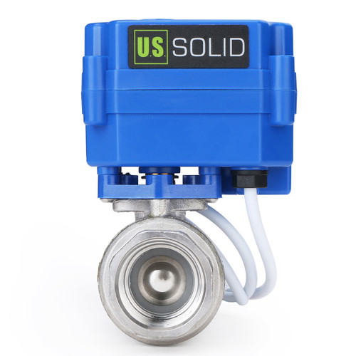 """Motorized Ball Valve- 3/4"""" Stainless Steel Ball Valve with Manual Function, Full Port, 9-24V AC/DC and 2 Wire Auto Return Setup by U.S. Solid"""