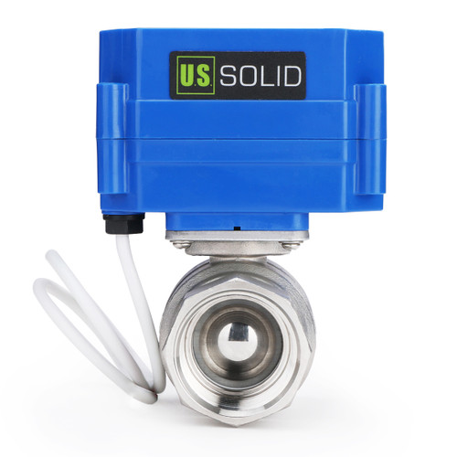 """U.S. Solid Motorized Ball Valve- 1"""" Stainless Steel Ball Valve with Manual Function, Full Port, 9-24V AC/DC and 2 Wire Auto Return Setup"""