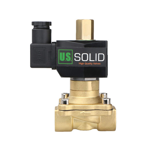 """U.S. Solid 1/2"""" Electric Solenoid Valve 12V DC Brass Body Normally Open G Thread, NBR Seal"""