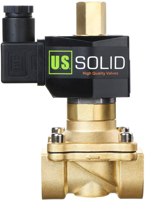 """U.S. Solid 3/4"""" Electric Solenoid Valve 220V AC Brass Body Normally Open G Thread VITON Water Air Oil"""