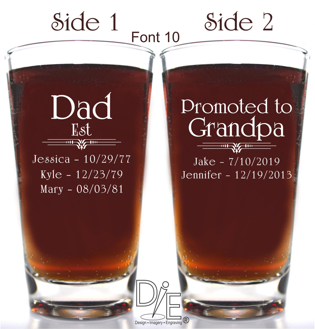 8abfc8c4818 Dad Promoted to Grandpa Pilsner with names and dates in Font 10 by Design  Imagery Engraving
