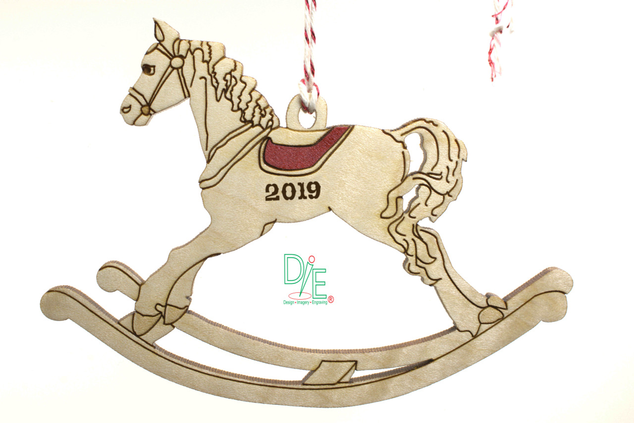 Rocking Horse Wooden Ornament Design Imagery Engraving