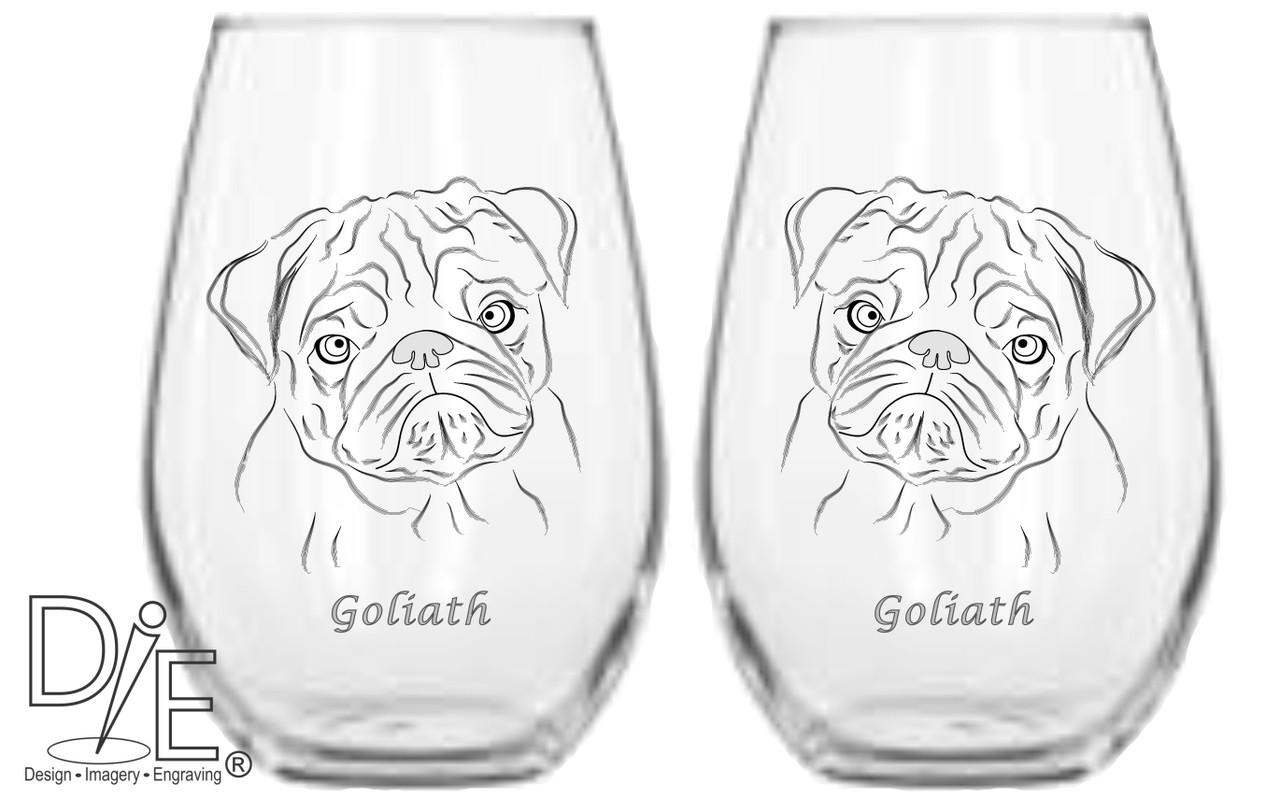 Pug 2 Wine Glass Set Stemmed Or Stemless Design Imagery Engraving