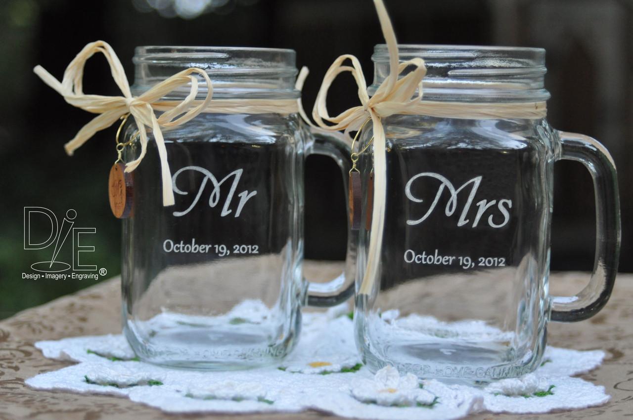 Mason Jar Wedding Glasses Mr And Mrs Left Or Right Handles