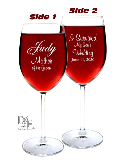 93beb308df4 Crystal Wine Glass Double Side Engraved for Mother of the Groom