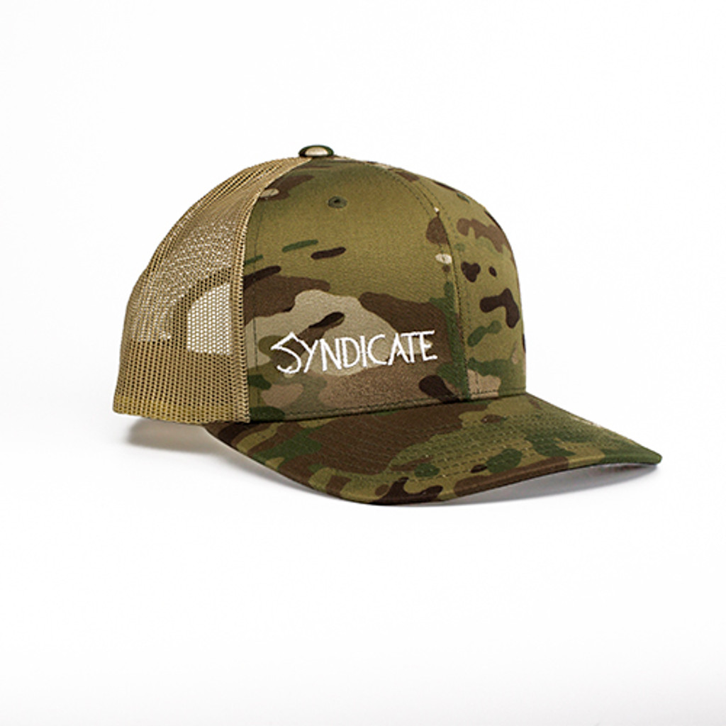 Syndicate Classic Snapback Trucker Hat in Officially licensed MultiCam Camo with Khaki mesh back.