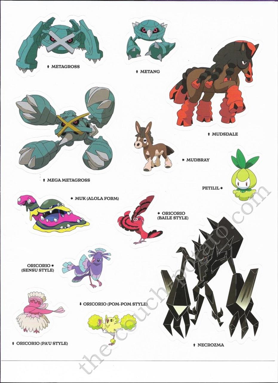 Pokemon Alola Stickers Metagross Metagross Mega Metang Mudbray Mudsdale Muk  Alola Necrozma Oricorio Baile Oricorio Pa'u Oricorio Pom-Pom Oricorio Sensu  Petilil