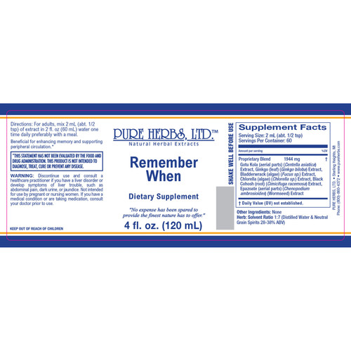Pure Herbs, Ltd. Remember When (4 oz.)