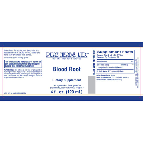 Pure Herbs, Ltd.  Blood (Red) Root (4 oz.)