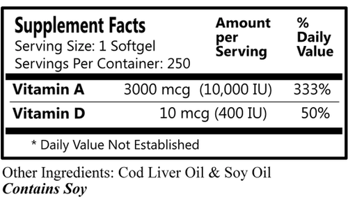 Daily Manufacturing Vitamin A & D (250)