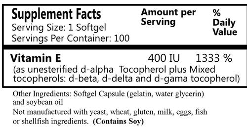 Daily Manufacturing Vitamin E-400 IU (100 caps)