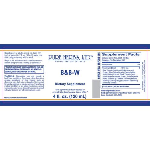 Pure Herbs, Ltd.  B & B-W (4 oz.)