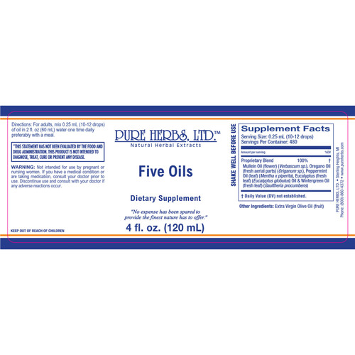 Pure Herbs, Ltd.  Five Oils (4 oz.) NEW FORMULA