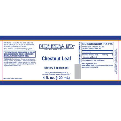 Pure Herbs, Ltd.  Chestnut Leaf (4 oz.)