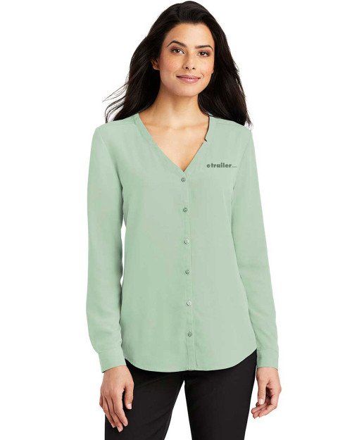 Ladies Long Sleeve Button-Front Blouse