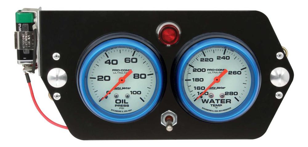 Gauge Panel Assembly - Sprint Panel - Auto Meter Ultra-Nite - Oil Pressure/Water Temp - White Face - 9-Volt Battery - Aluminum Panel - Kit