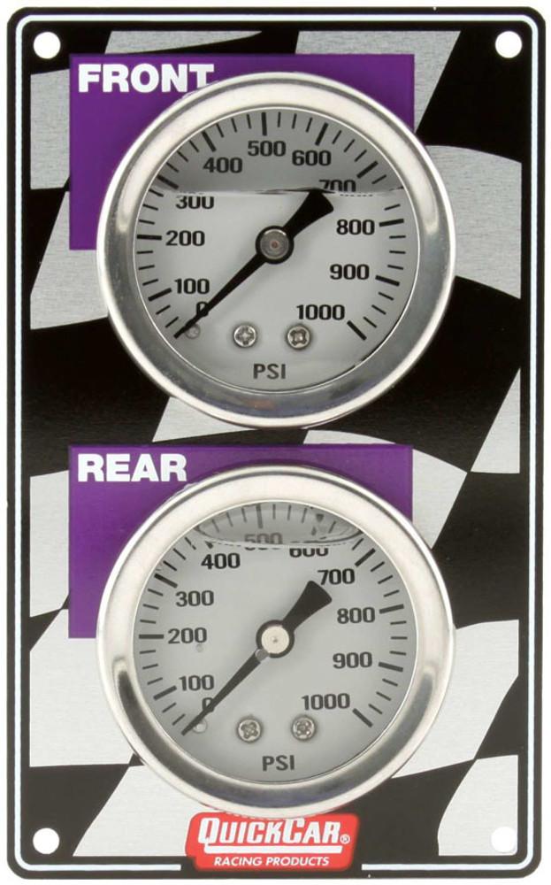 Gauge - Brake Bias - Dual Gauge - 0-1000 psi - Mechanical - Analog - White Face - 2-3/4 in Wide x 4-1/2 in High Vertical Panel - Aluminum - Kit