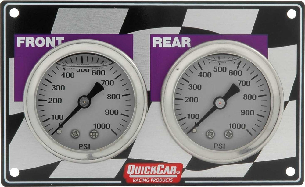Gauge - Brake Bias - Dual Gauge - 0-1000 psi - Mechanical - Analog - White Face - 4-1/2 in Wide x 2-3/4 in High Horizontal Panel - Aluminum - Kit