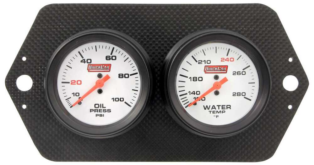 Gauge Panel Assembly - Sprint Panel - Oil Pressure/Water Temp - White Face - Carbon Fiber Panel - Kit