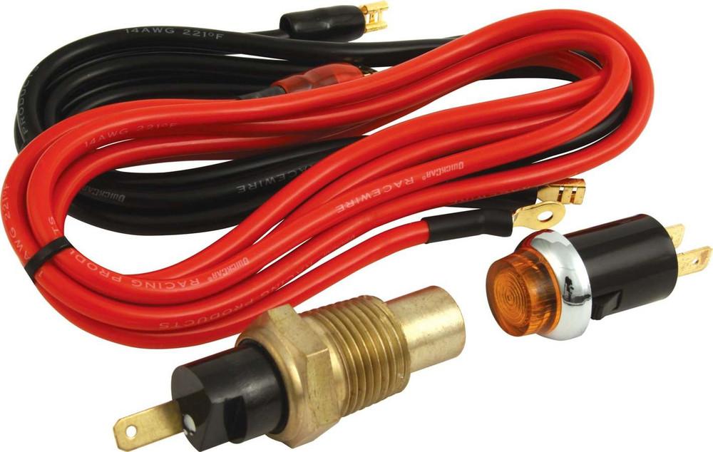 Warning Light - Oil Temperature - 275 Degree - 1/2 in NPT Male Thread - Light/Sender/Wiring - Orange - Kit