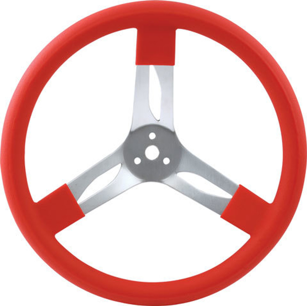 Steering Wheel - 17 in Diameter - 3 Spoke - 3 in Dish Depth - Red Rubber Grip - Aluminum - Natural - Each