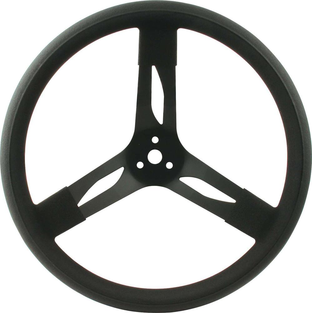 Steering Wheel - 15 in Diameter - 3 Spoke - 3 in Dish Depth - Black Rubber Grip - Steel - Black - Each