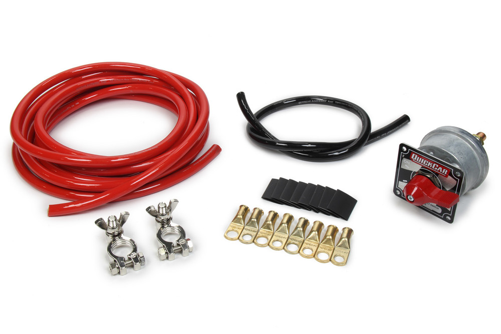 57-014  -  Battery Cable Kit - 4 Gauge - 15 ft Red/2 ft Black - Top Mount Battery Terminals - Disconnect Switch/Terminals/Heat Shrink Included - Kit