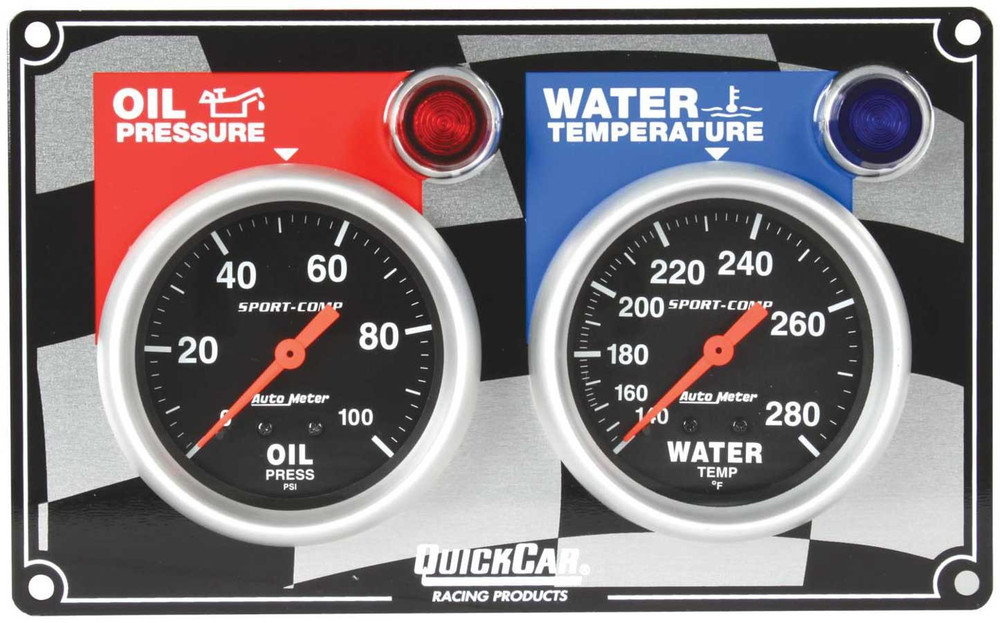 61-0101  -  Gauge Panel Assembly - Auto Meter Sport-Comp - Oil Pressure/Water Temp - Black Face - Warning Light - Kit