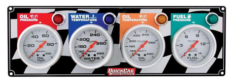 61-0321  -  Gauge Panel Assembly - Auto Meter Ultra-Lite - Fuel Pressure/Oil Pressure/Oil Temp/Water Temp - White Face - Warning Light - Kit
