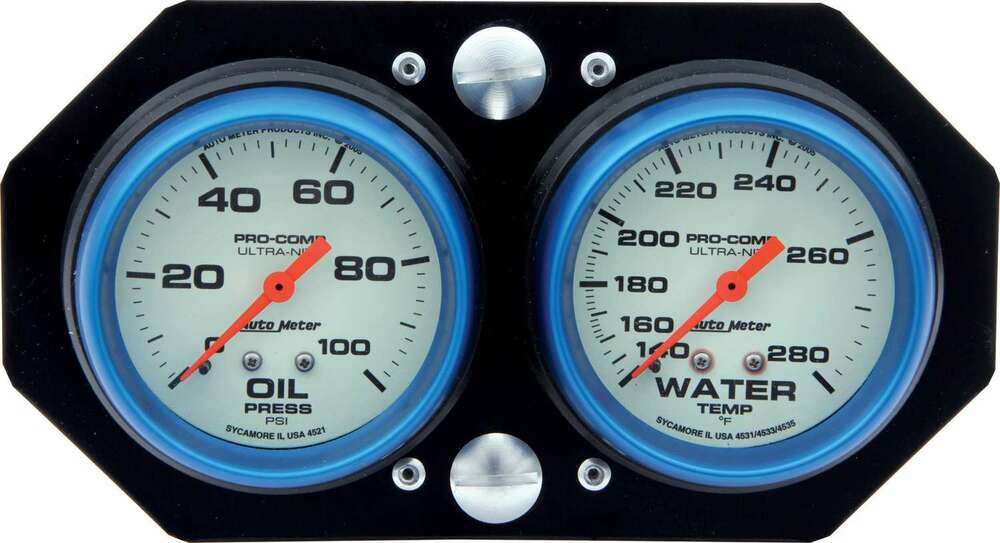 61-0606 - Gauge Panel Assembly - Sprint Panel - Auto Meter Ultra-Nite - Oil Pressure/Water Temp - White Face - Aluminum Panel - Kit