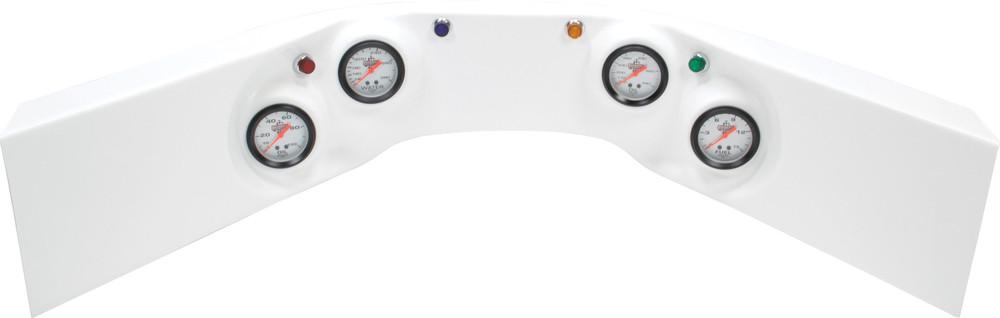 61-6024 - Fiberglass Molded Gauge Panel Assembly - Oil Pressure/Water Temp/Oil Temp/Fuel Pressure - White