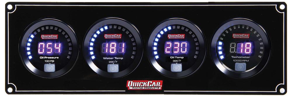 67-3041 Digital 3-1 Gauge Panel OP/WT/OT w/ Tach Quickcar Racing Products