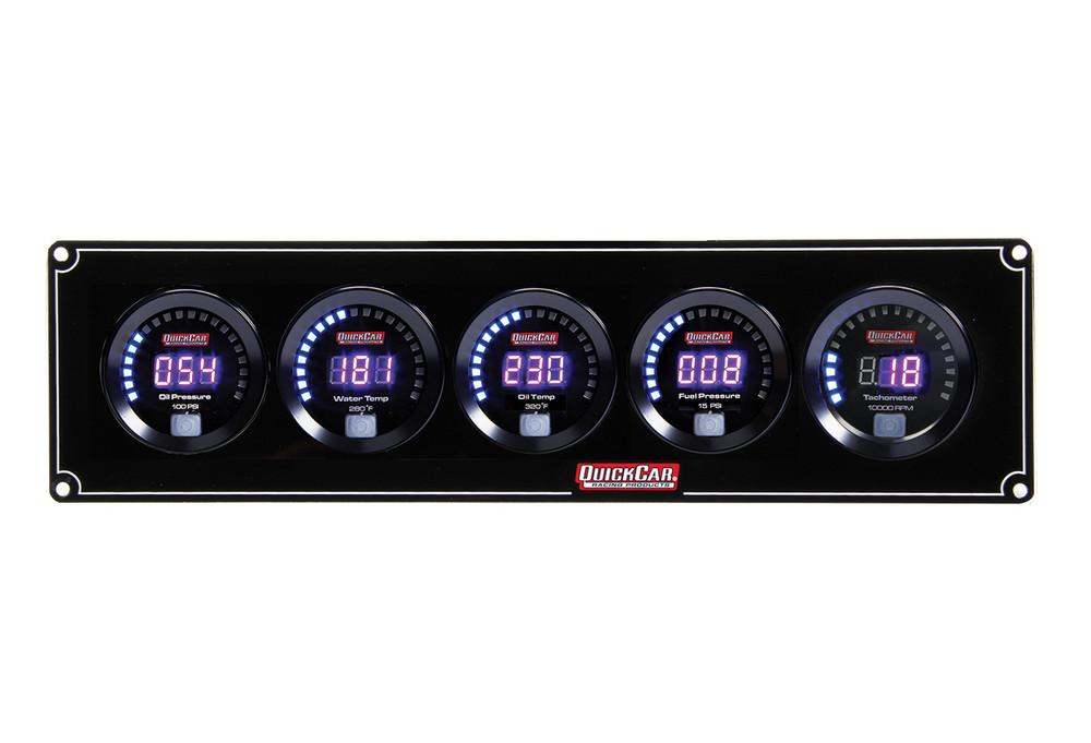 67-4051 Digital 4-1 Gauge Panel OP/WT/OT/FP w/ Tach Quickcar Racing Products