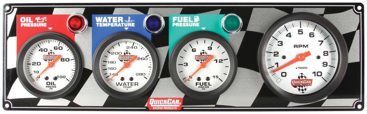 QuickCar 61-6042 Gauge Panel Tachometer Oil Fuel Pressure /& Water Temp w// Lights