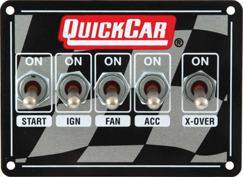 Dual Ignition 5 Switch Panel w/ Flag Plate 50-1711 Quickcar Racing Products
