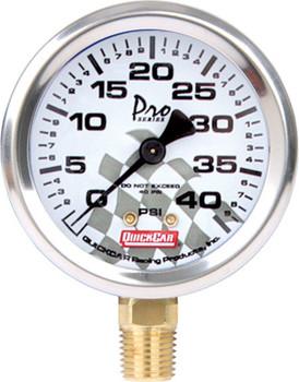 56-240 - Tire Inflator/Gauge - 0-40 psi - Analog - 2-1/4 in Diameter - White Face - Each